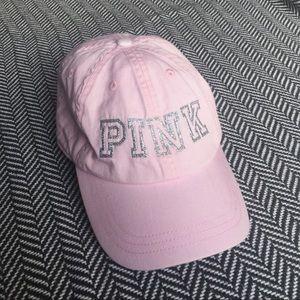 PINK Victoria's Secret Dad Hat Silver Glitter Logo